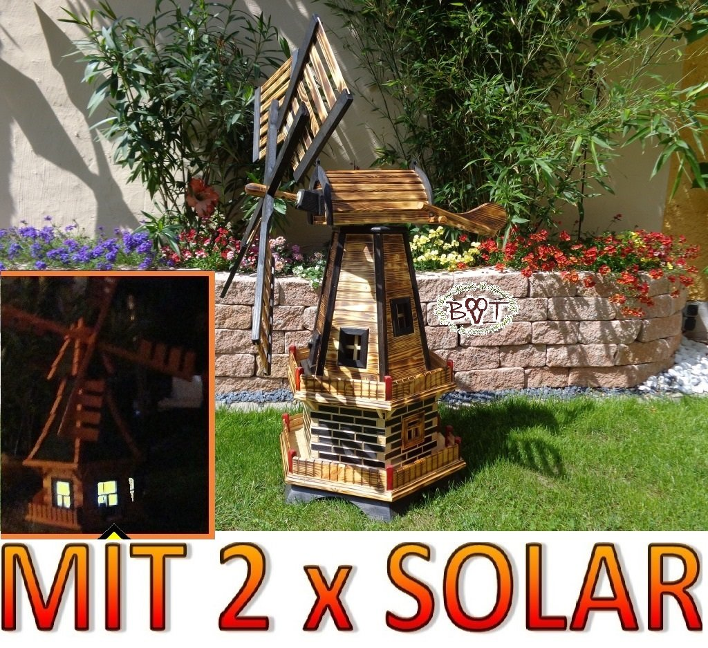 Grosse Windmühle, Gartenwindmühle 130 cm, zweistöckig 2 Balkone aus Holz, garten windmühlen, MIT SOLAR - AUTOMATIK / Solarleuchten + Solarmodul, Solarbeleuchtung DOPPEL-SOLAR LICHT WMH130ng-MS 1,30 m groß in schwarz / dunkel feuer-geflammt (echt geflammt / gebrannt), NATUR-GEFLAMMT