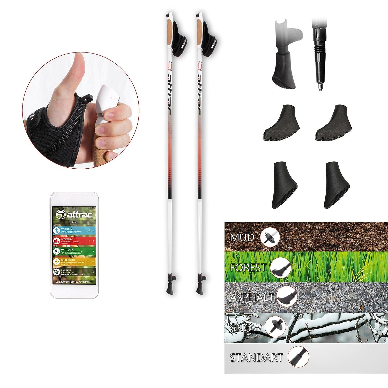 ATTRAC - Bâtons de marche nordique en aluminium avec boucles de poignet et système de largage rapide CLICK & GO (125 cm) POWRX