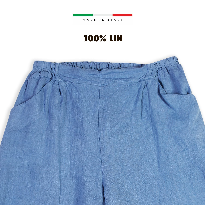 E Poi Abbigliamento Collezione Lino Maxi bermuda con elastico in vita in puro lino estivi