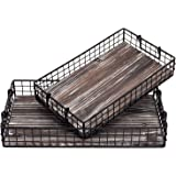 MyGift Black Metal Wire Nesting Serving Trays Storage Baskets with Torched Wood Base and Handles, Set of 2