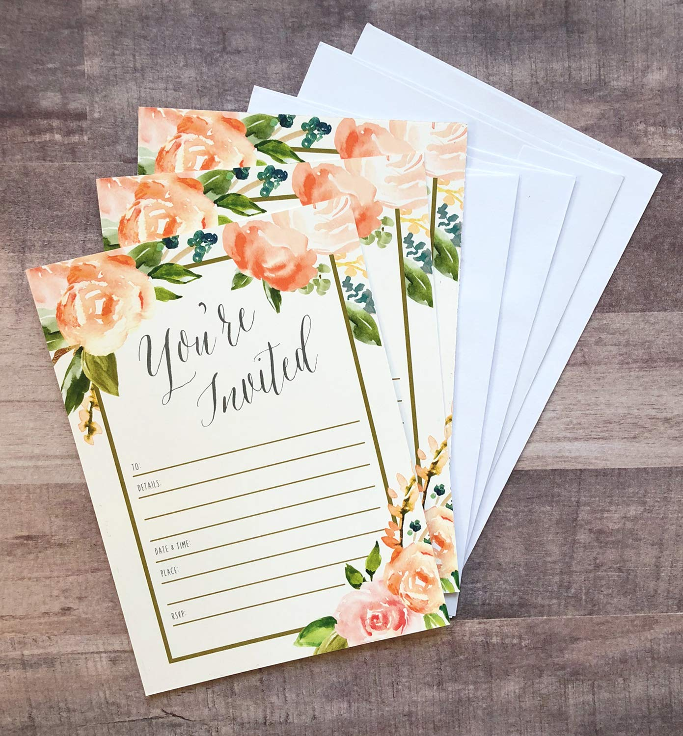25 Floral Party Invitations with Envelopes | Blank, Fill-in Invites | Great for Bridal Showers, Girl Baby Showers, Graduation, Bachelorette, Sweet 16, Rehearsal Dinner, Birthdays, Weddings by Angie Makes (Image #3)