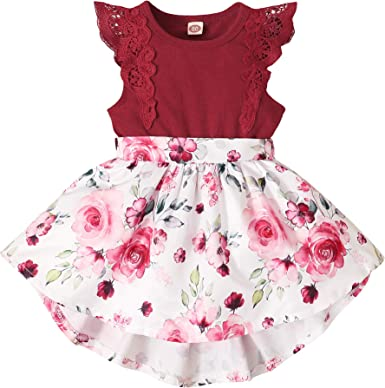 PROBABY Toddler Baby Girl Dress Infant Floral Ruffle Sleeve Romper Dress Newbron Baby Girl Clothes Outfit