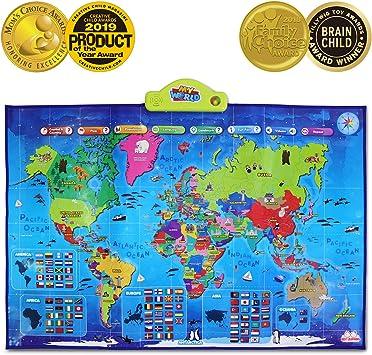 BEST LEARNING i-Poster mi mapa interactivo del mundo - juguete ...
