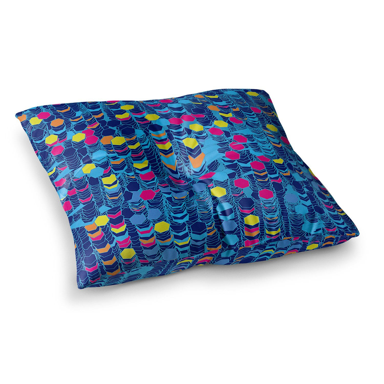 23 x 23 Square Floor Pillow Kess InHouse Frederic Levy-Hadida Color Hiving Blue Navy