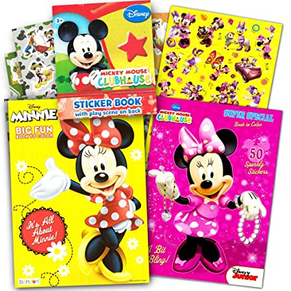 Amazon.com: Disney Minnie Mouse Coloring Book Set with Stickers -- 2 ...