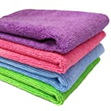 SOBBY Microfibre Cloth for Car Cleaning, Home and kitchen cleaning microfiber clothes pack of 4-40 cm x 40 cm - Multi color