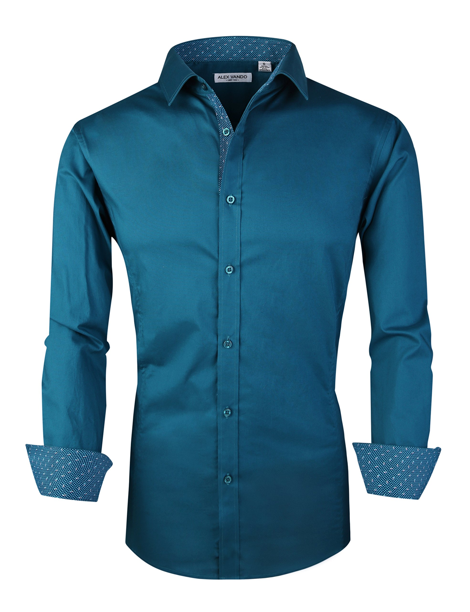 Joey CV Mens Casual Button Down Shirts Long Sleeve Regular Fit(Teal,XXLarge)