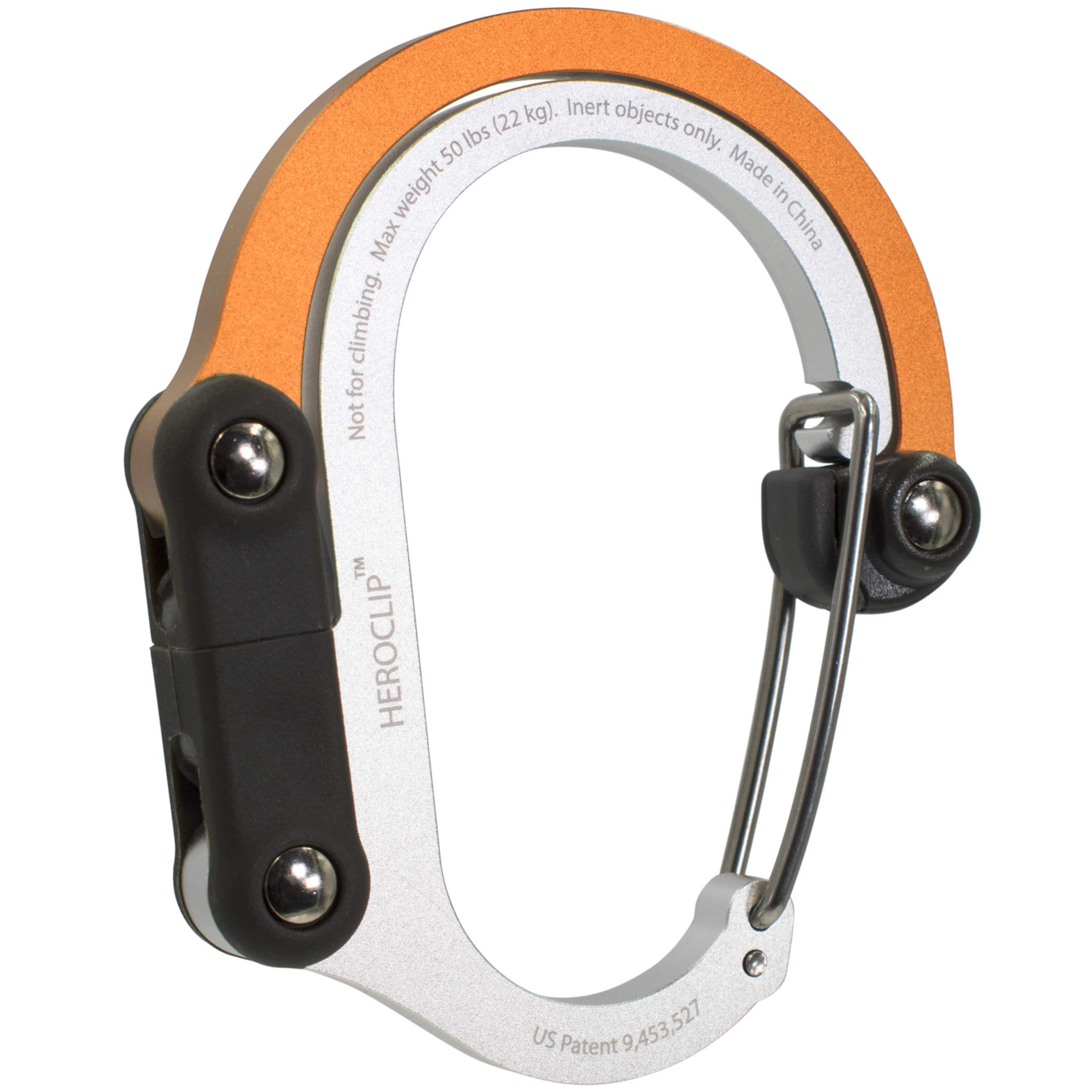 HEROCLIP Hybrid Gear Clip - Non-Locking Carabiner Rotating Hook - Strong Clips for Camping, Fishing, Hiking, Travel, Backpacking & Outdoor Adventure. Aluminum D Ring Hooks (Medium)
