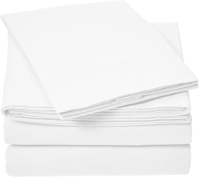 AmazonBasics Everyday Flannel Bed Sheet Set - Twin, White