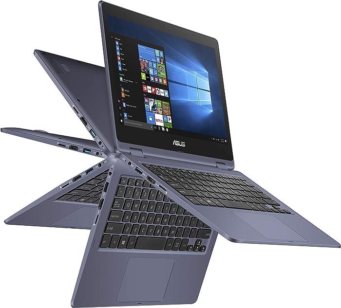 "ASUS VivoBook Flip Thin and Light 2-in-1 Laptop - 11.6"" HD Touchscreen, Intel Dual-Core Celeron N3350 Processor, 4GB RAM, 64GB eMMC Storage, Windows 10 in S Mode, Office 365 - J202NA-DH01T (Renewed)"
