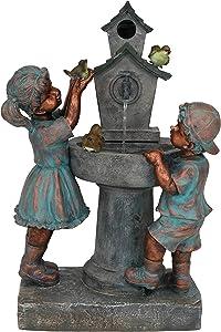 Sunnydaze Boy and Girl at Bird Bath Water Fountain, Outdoor Garden & Yard Decorative Feature, 30-Inch