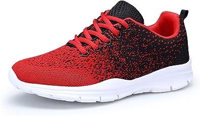 DAFENP Zapatillas Running Hombre Mujer Zapatos Deporte para Correr Trail Fitness Sneakers Ligero Transpirable (46 EU, RojoNegro): Amazon.es: Zapatos y complementos