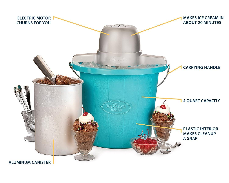 Amazon.com: Nostalgia ICMP400BLUE 4-Quart Electric Ice Cream Maker ...