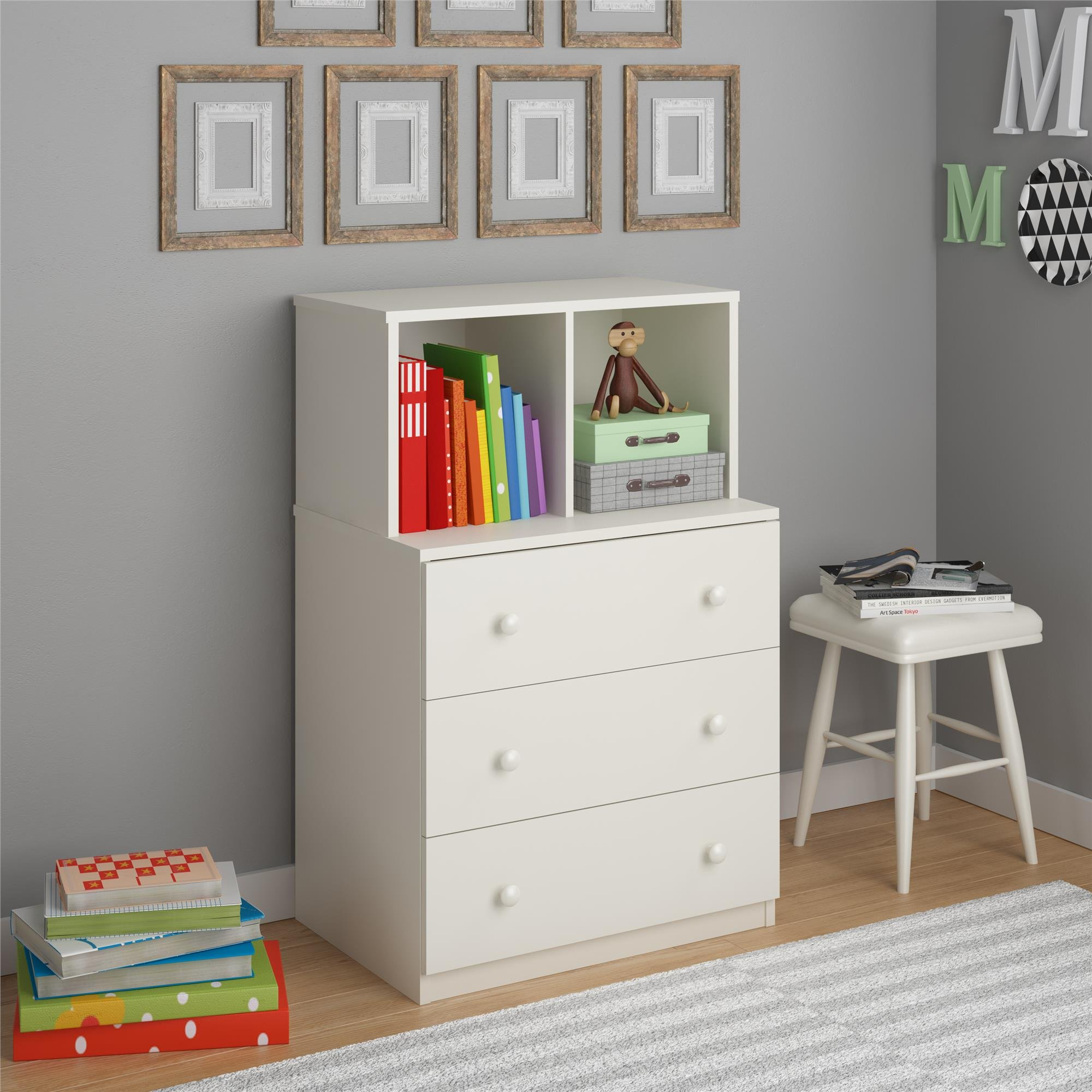 Ameriwood Home Skyler 3 Drawer Dresser with Cubbies, White by Ameriwood Home (Image #3)