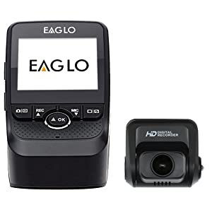 Eaglo E10 Full HD Front and Rear Car Dash Cam 1080p 170° Ultra Wide Angle Dual Channel Dashboard Camera Recorder with Built-in G-Sensor, WDR, Loop Recording