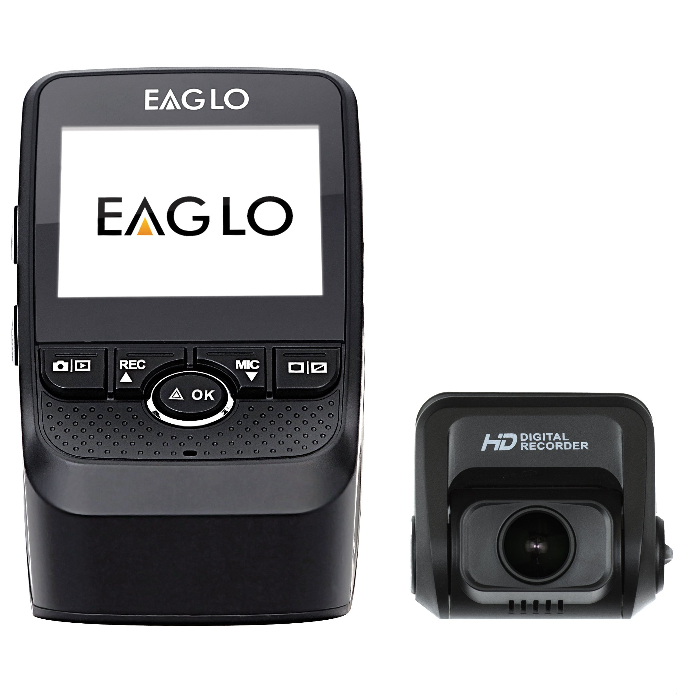 Eaglo E10 Full HD Front and Rear Car Dash Cam 1080p 170° Ultra Wide Angle Dual Channel Dashboard Camera Recorder with Super Capacitor Built-in G-Sensor, WDR, Loop Recording