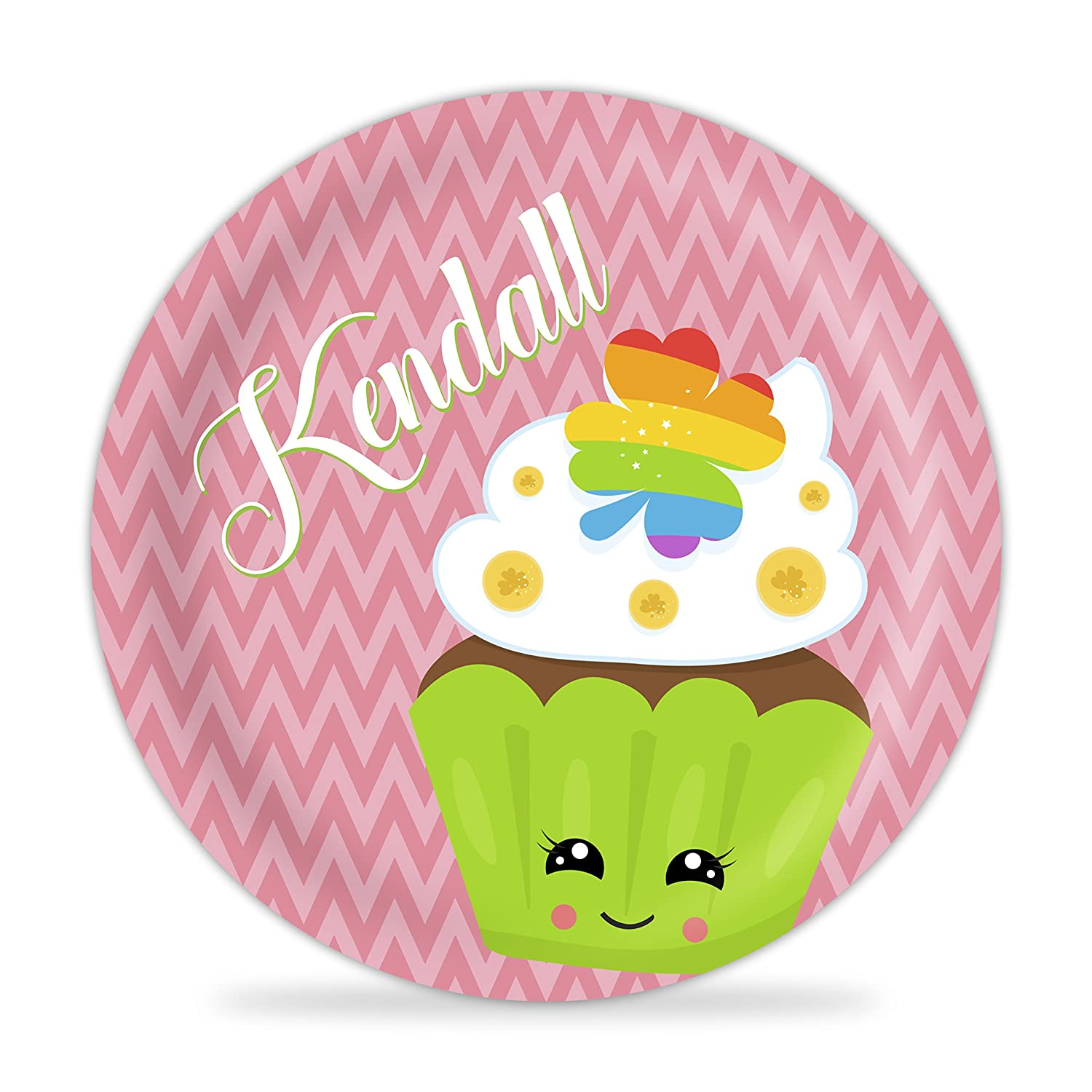 St Patricks Day Plate Green Dots St Pattys Day Cupcake Melamine Personalized Name Plate