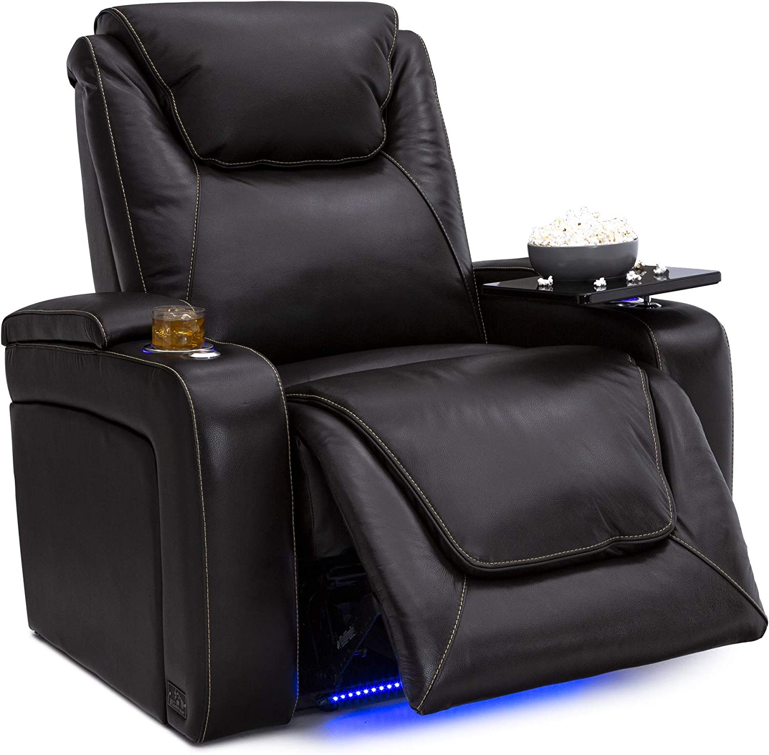 Big & Tall Home Theater Seating - Top Grain Leather - Power Recline - Powered Headrest - Power Lumbar - SoundShaker - 400 lbs Capacity (Single Recliner, Brown)