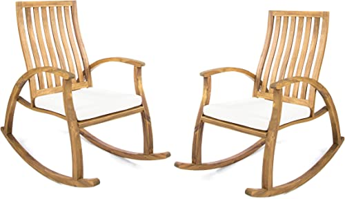 Christopher Knight Home Great Deal Furniture Cattan Outdoor Natural Stained Acacia Wood Rocking Chair with Cream Water Resistant Cushions Set of 2