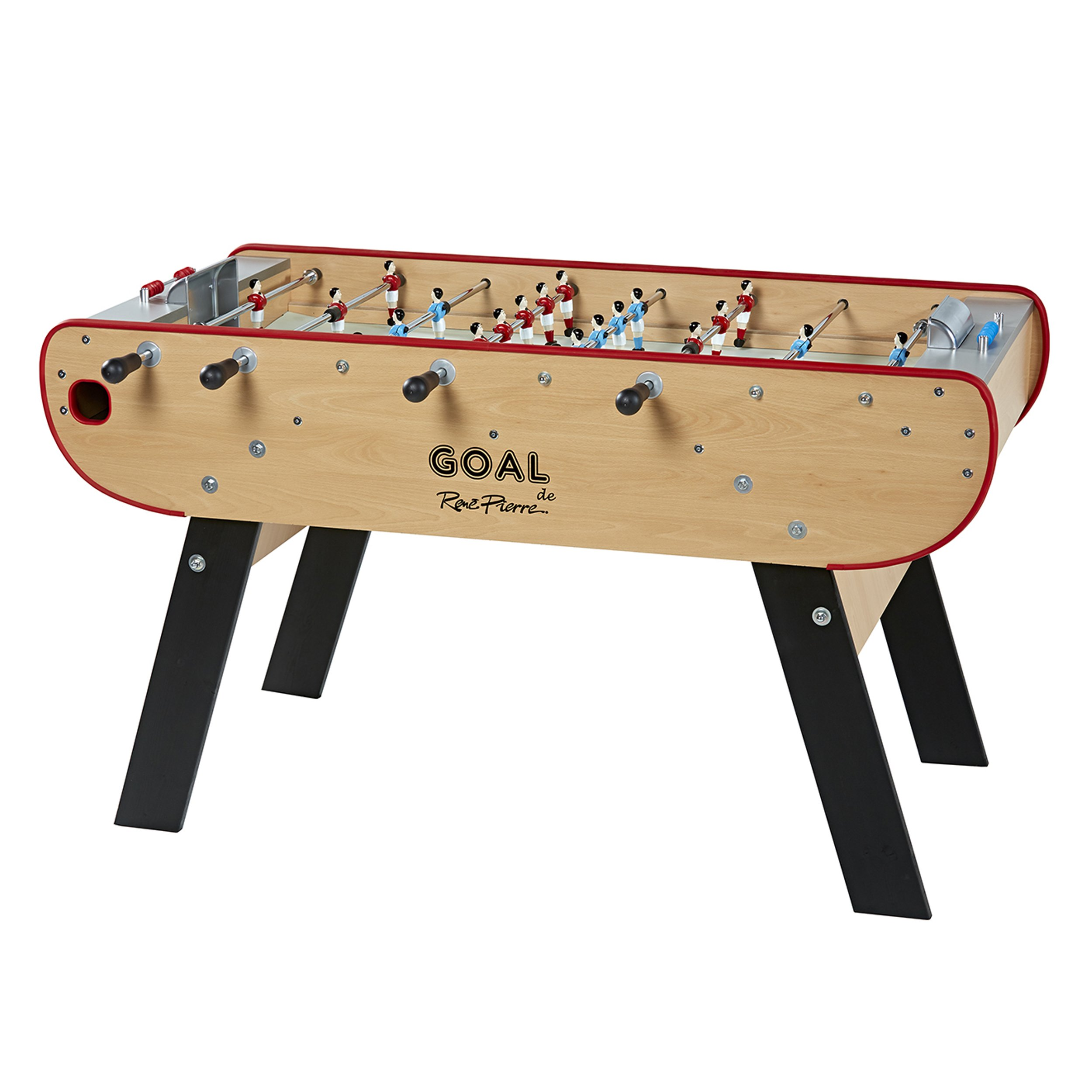 René Pierre Goal Foosball Table with Safety Telescoping Rods with Round Handles, Manual Scorers and Single Goalies