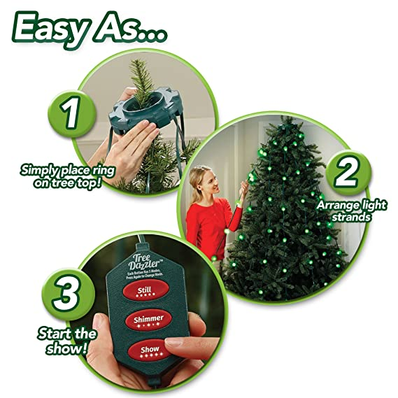amazoncom star shower tree dazzler led christmas lights by bulbhead indoor color changing led light show for the xmas tree 16 light patterns green