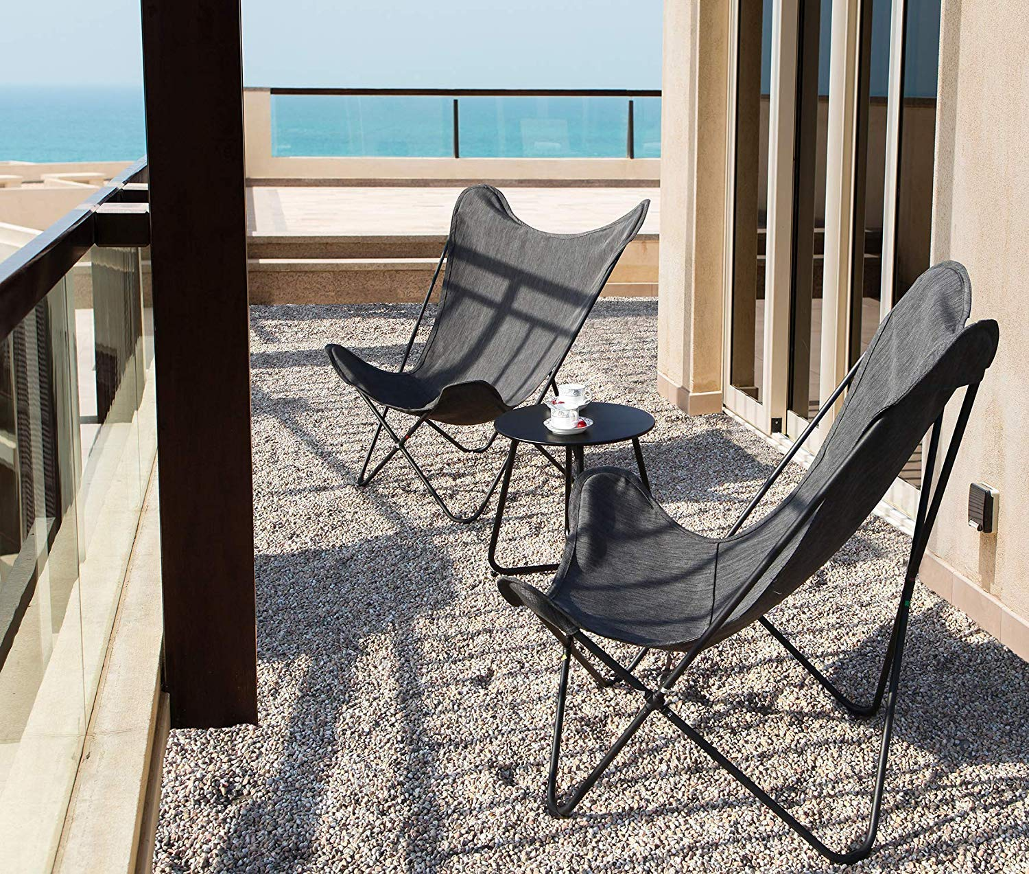 Grand Patio Indoor & Outdoor Lounge Chair, Butterfly Sling Chairs with Metal Frame, Patio Recliner for Pool, Beach and Yard. Gray by Grand patio