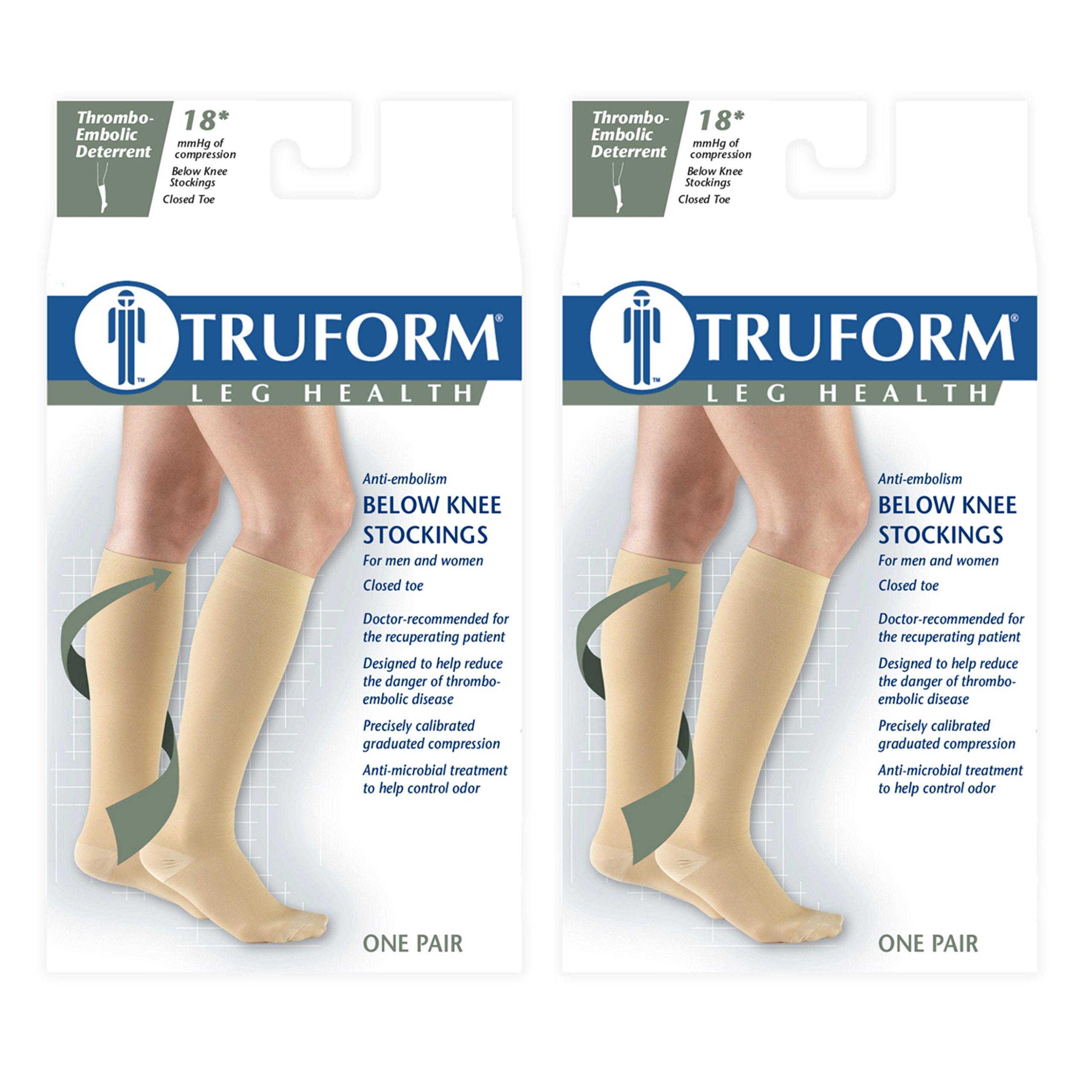 Truform 8808 Anti-Embolism Knee Length Closed Toe 18 mmHg Stockings, Beige, Small (Pack of 2)
