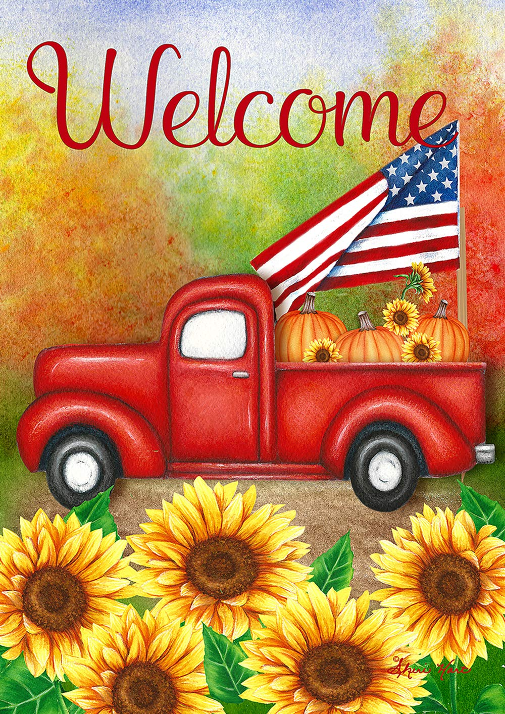 Toland Home Garden 1012207 Welcome Harvest Truck 28 x 40 inch Decorative, Fall Autumn Vintage Red Pickup, House Flag