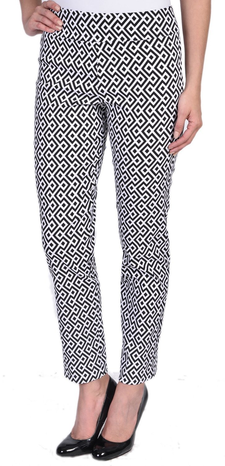 Krazy Larry Pull on Ankle Pants (10, Geometric)