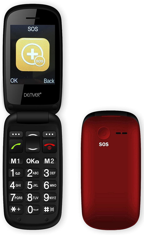 Rojo Tel/éfono para Personas Mayores Concha, SIM /única, 6,1 cm 2.4 , 0,3 MP, 800 mAh, Negro, Rojo Denver GSP-130RED 2.4 78g Negro Tel/éfono m/óvil