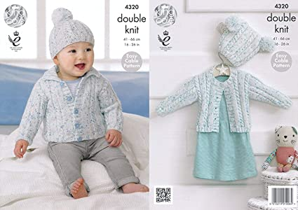 King Cole Double Knitting Pattern Easy Cable Design Baby Cardigans