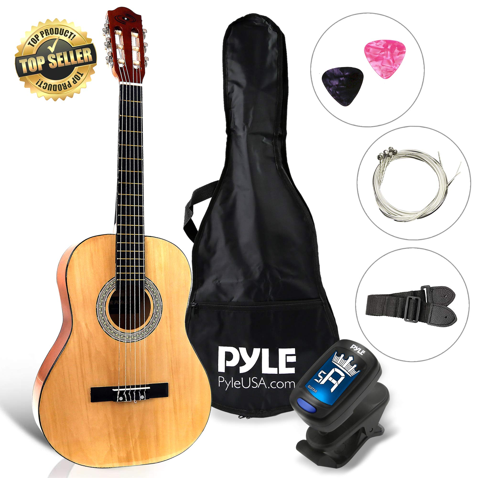 Beginner 36'' Classical Acoustic Guitar - 6 String Junior Linden Wood Traditional Guitar w/Wooden Fretboard, Case Bag, Tuner, Nylon Strings, Picks, Cloth, Great for Beginners, Children - Pyle PGACLS82 by Pyle