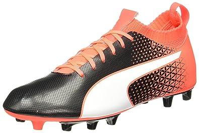 aa381e85a54 Puma Men s Evoknit FTB Ag Black-White-Fiery Coral Football Boots - 9 ...