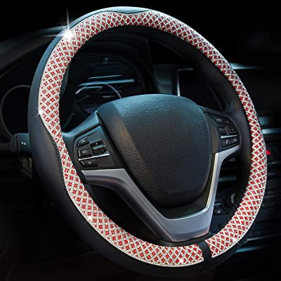 Valleycomfy Universal 15 inch Diamond Crystal Leather Steering Wheel Cover for HRV CRV Accord Corolla Prius Rav4 Tacoma Camry X1 X3 X5 335i 535i,etc (Red): Automotive