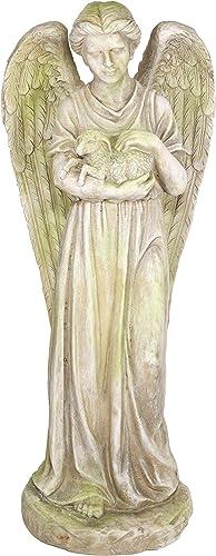 Alpine Corporation QFC228 Old World Angel Holding Lamb Statue