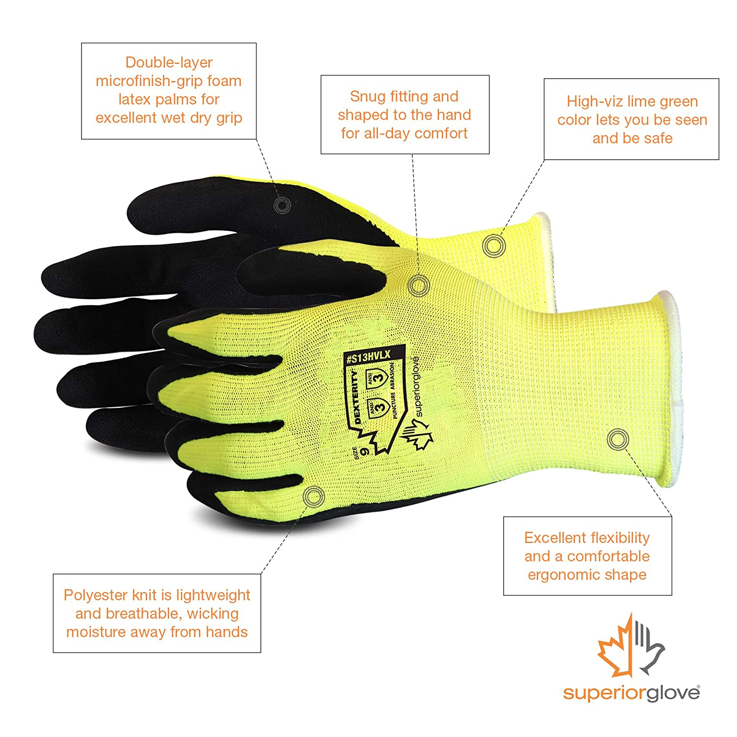S13HVL Rose Pruning Gloves with Moisture Wicking High Visibility Color Superior Gardening Gloves 3-Pack for Landscaping and Yard Work Large