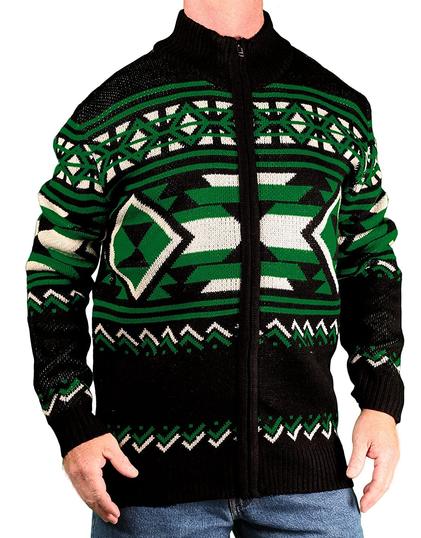 Blacksmith Men's Jaquard Mock-Neck Zip Sweater B61355