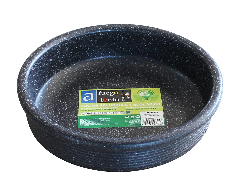 A Fuego Lento Cazuela Horno Piedra, Barro, Negro Granito, 28 cm