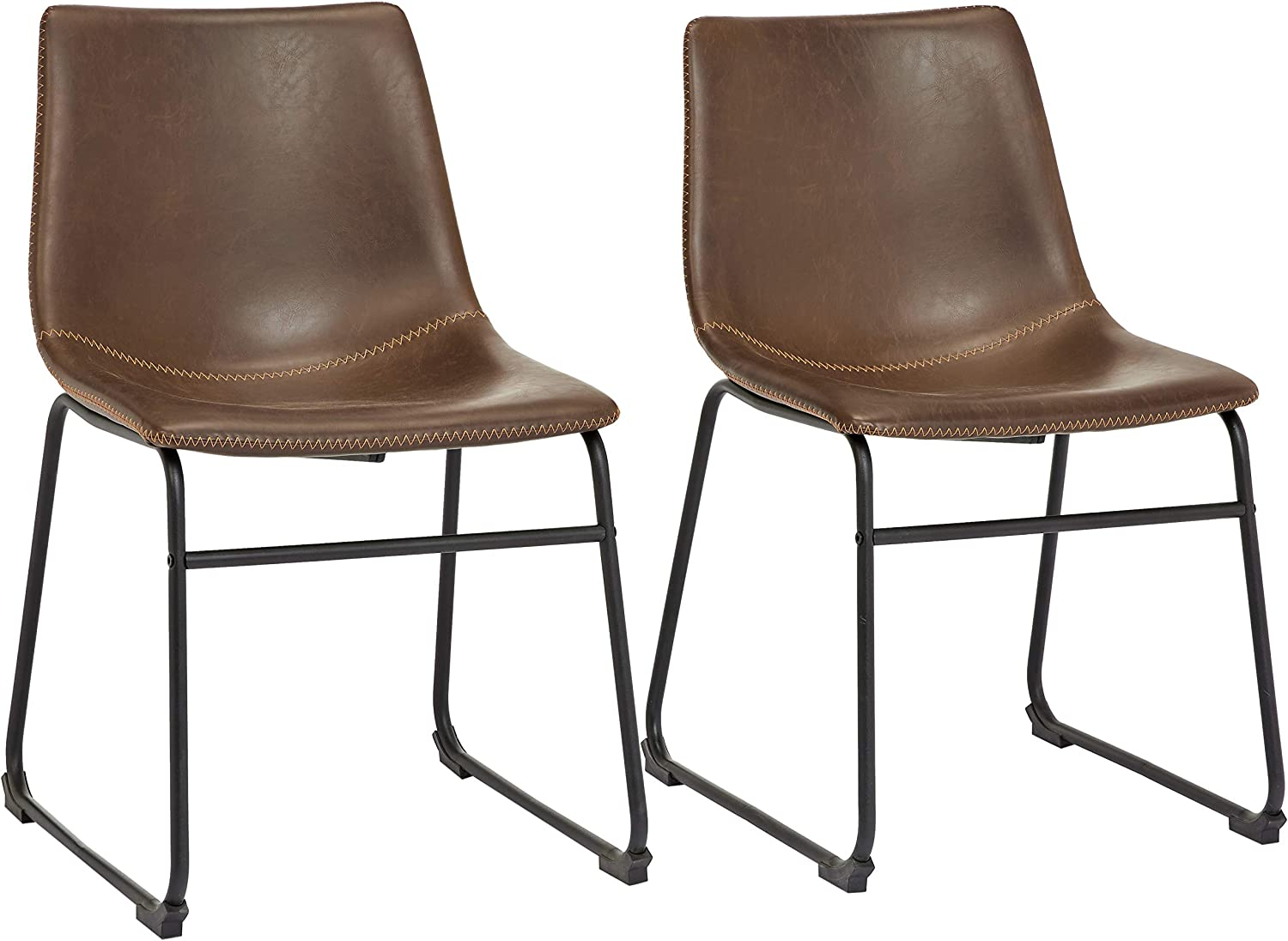 Amazon Com Phoenix Home Pu Leather Dining Chair Set Of 2 18 11 Length X 21 65 Width X 30 7 Height Brown Furniture Decor