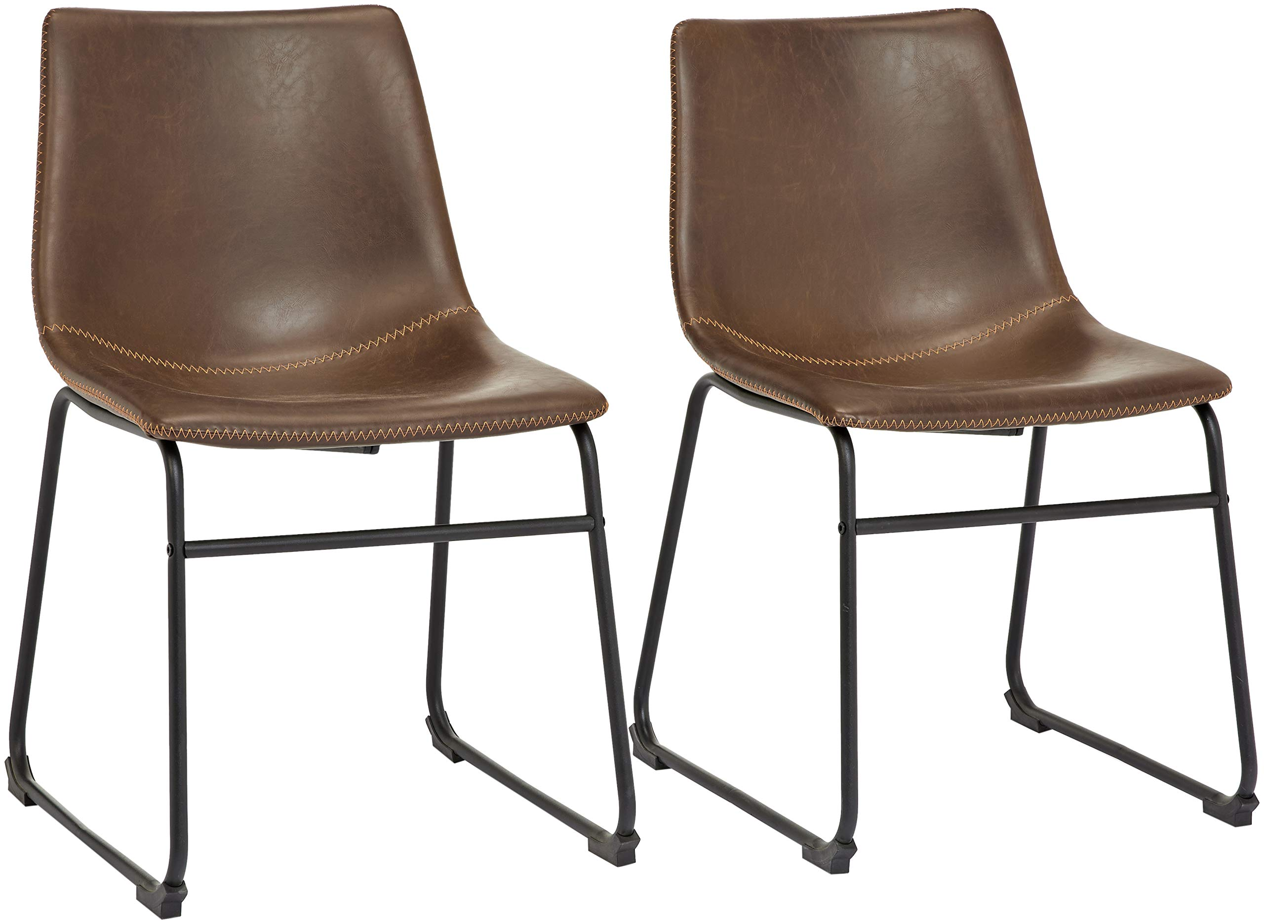 Phoenix Home PU Leather Dining Chair Set of 2, 18.11'' Length x 21.65'' Width x 30.7'' Height, Brown by Phoenix Home