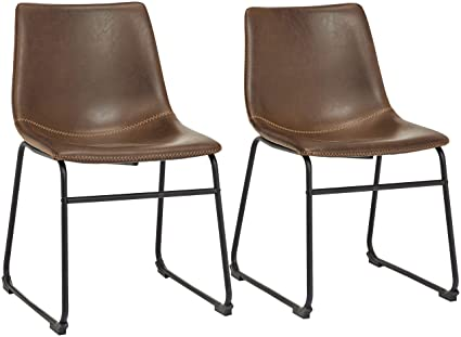 Magnificent Phoenix Home Avh050802 Pu Leather Dining Chair Set Of 2 18 11 Length X 21 65 Width X 30 7 Height Brown Ibusinesslaw Wood Chair Design Ideas Ibusinesslaworg