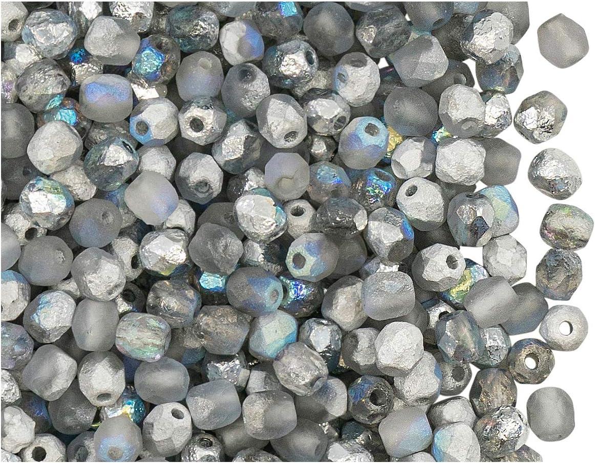 100 Stьck Tschechische Facettierten Glasperlen Fire-Polished Rund 4 mm Crystal Sliperit