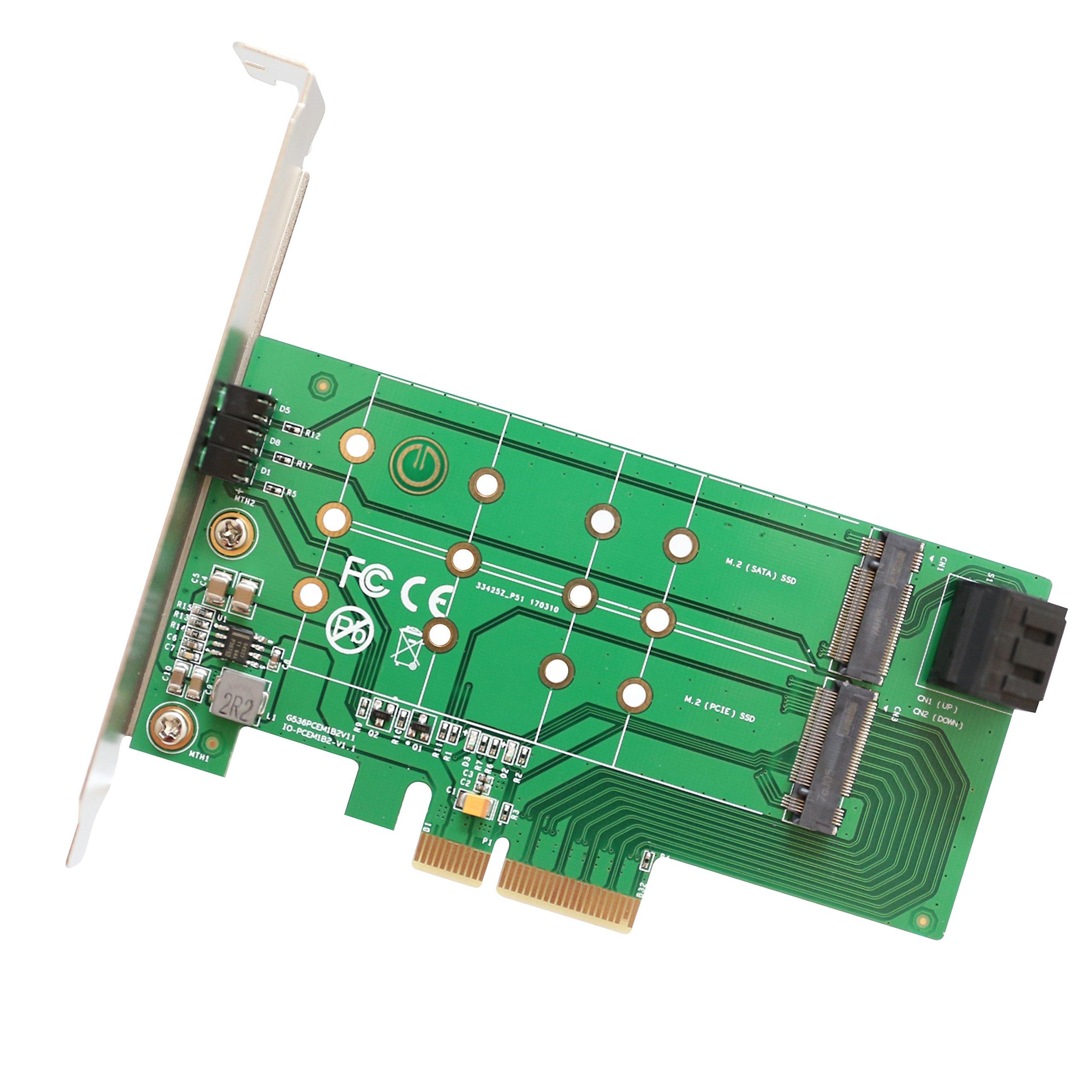 IO Crest 2 puertos M.2 B-Key y 1 puerto M.2 M-Key PCI-e x4 tarjeta adaptadora