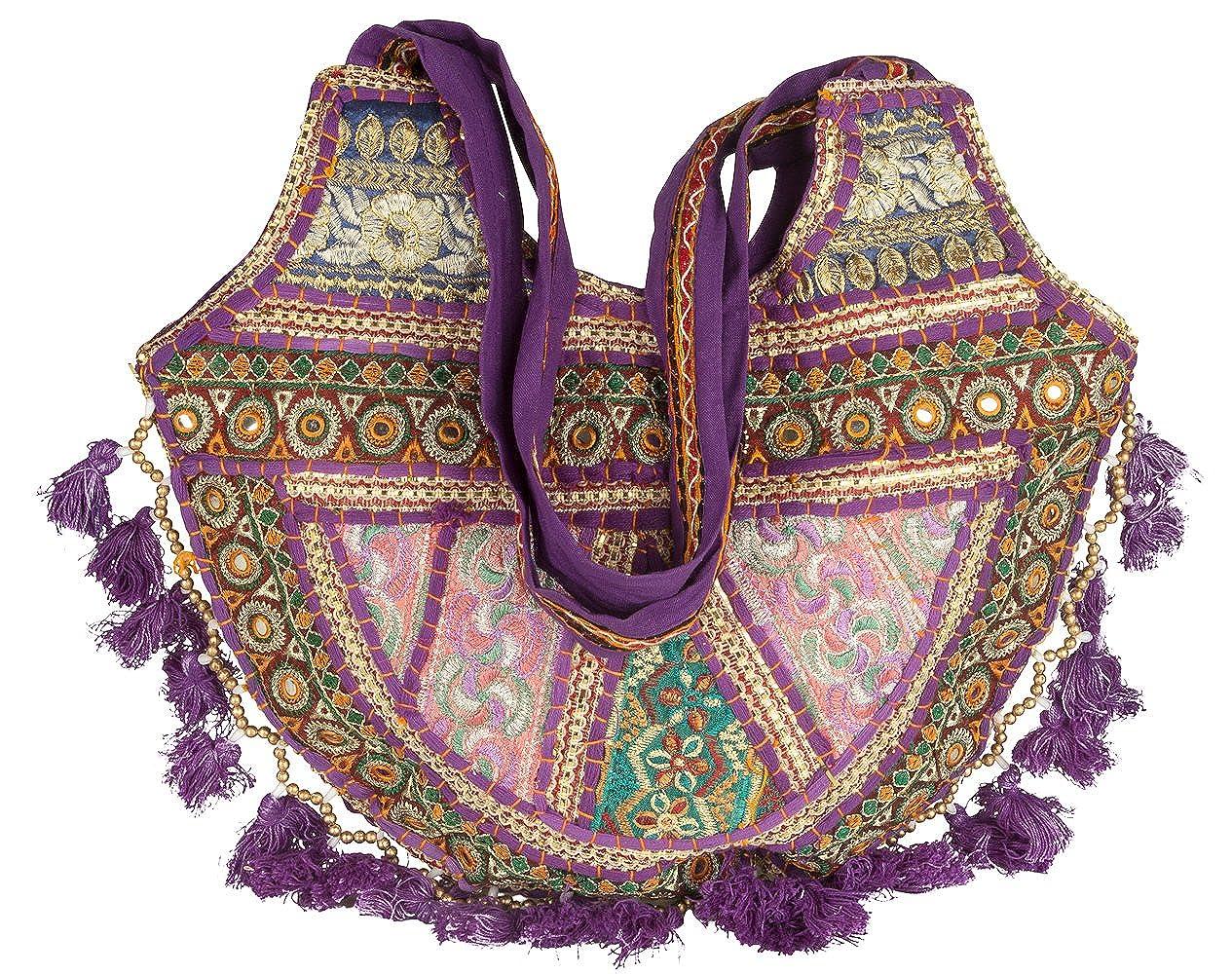 93c406548e Amazon.com  Tribe Azure Women Medium Shoulder Bag Tote Colorful Roomy  Casual Boho Purse Travel Beach Top Handle Tassel Bright (Magenta)  Shoes