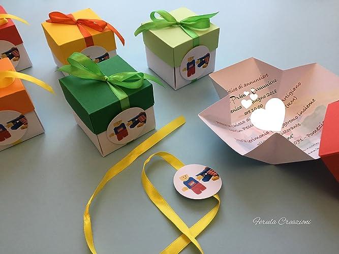 10 inviti compleanno scatolina 3d cartoon   inviti originali