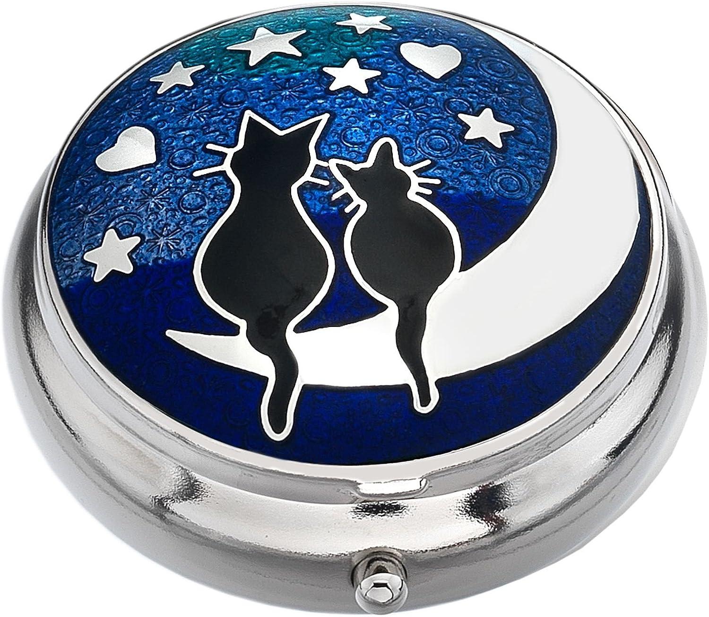 9011 Bijoux 427843 J R Sea Gems Chats amoureux sur la lune plaqu/é argent-Pilulier