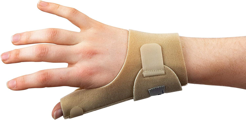 Órtesis Médica Neopreno Para Pulgar - La ferula pulgar Actesso es perfecta para dolor de pulgar, tendinitis, esguinces y distensiones - izquierda o derecha - tamaño universal (Derecha, Beige)