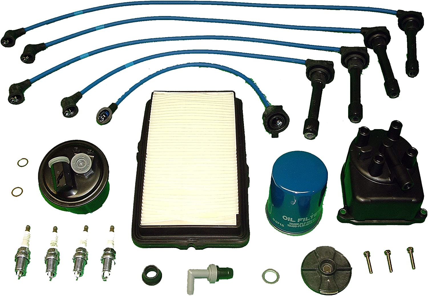 [DIAGRAM_38IU]  Amazon.com: Tune Up Kit Replacement For Honda Accord LX DX EX 1992 1993 oil  air fuel and pcv filters, Japanese distributor cap and ignition rotor NGK  wires and NGK spark plugs: Automotive | 1992 Honda Fuel Filter Located |  | Amazon.com