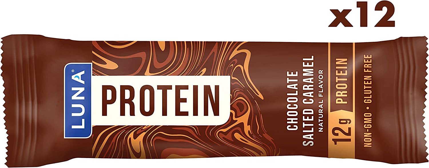 LUNA PROTEIN - Gluten Free Protein Bars - Chocolate Salted Caramel - 8g of protein - Non-GMO - Plant-Based Wholesome Snacking - On the Go Snacks (1.59 Ounce Snack Bars, 12 Count)