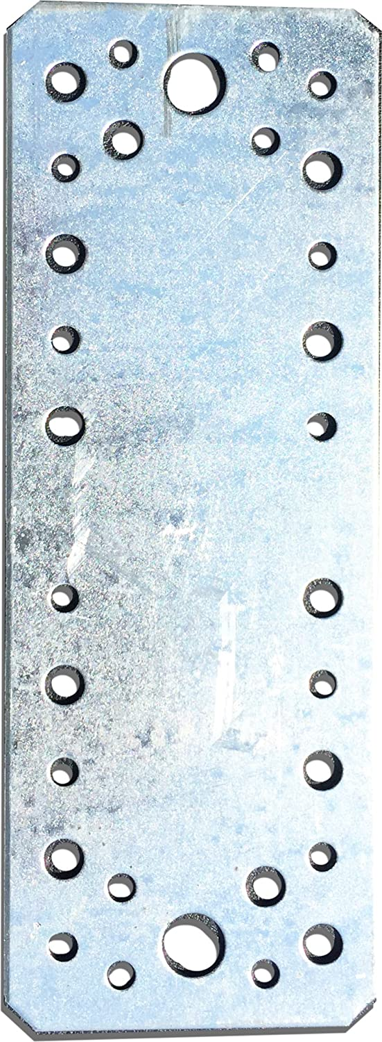 10 pcs. Flat Connecting Joining Plate, galvanised,180 x 65 mm x 2mm OMIdeas